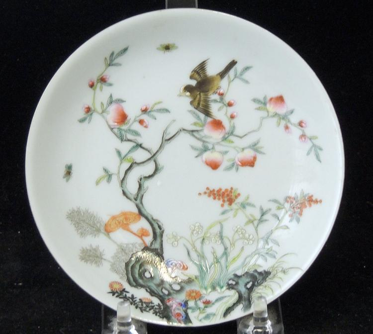 Chinese Enameled Porcelain Peach Dish