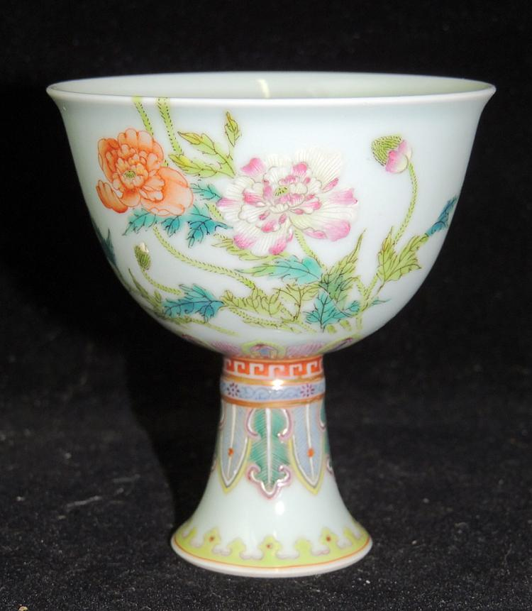 Chinese Famille Rose Porcelain Footed Cup