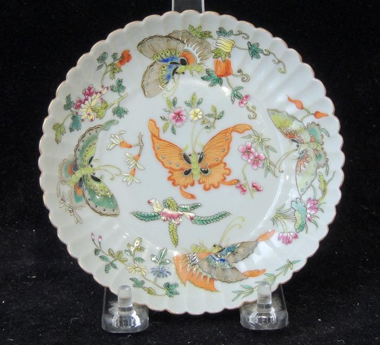 Chinese Enameled Porcelain Butterfly Dish
