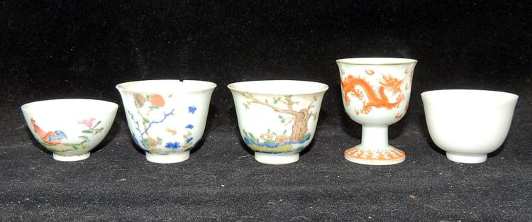 Five Chinese Porcelain Sake Cups