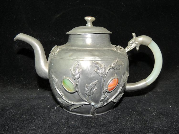 Chinese Pewter and Hardstone Teapot