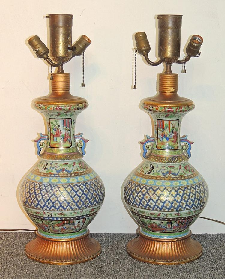 A Pair of Chinese Famille Rose Porcelain Lamps