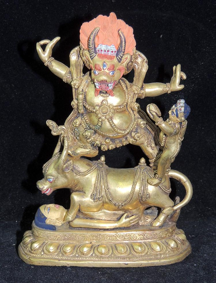 A Tibeto-Chinese Gilt Bronze Sculpture