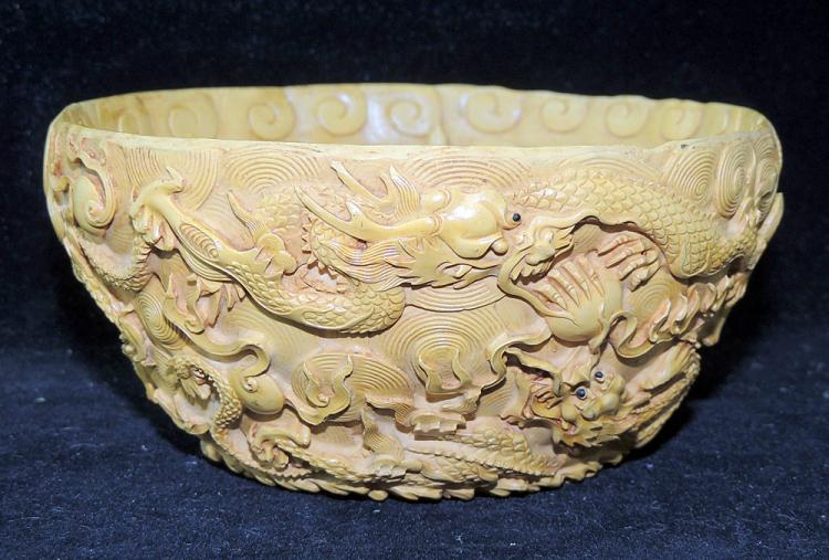 Chinese Carved Cinnabar Lacquered Bowl