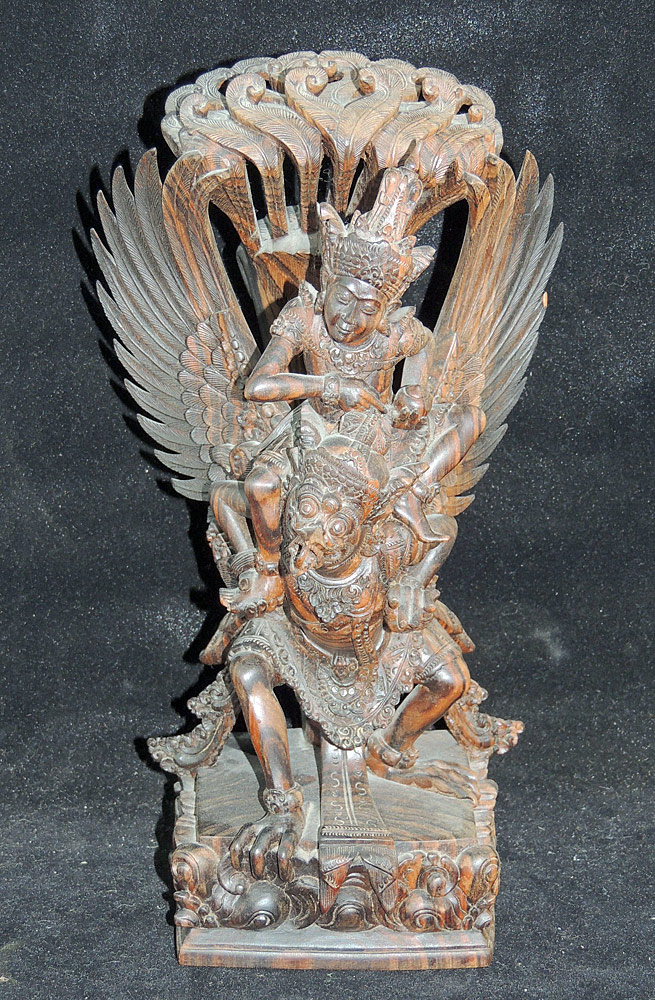 Balinese Carved Wood Vishnu riding Garuda