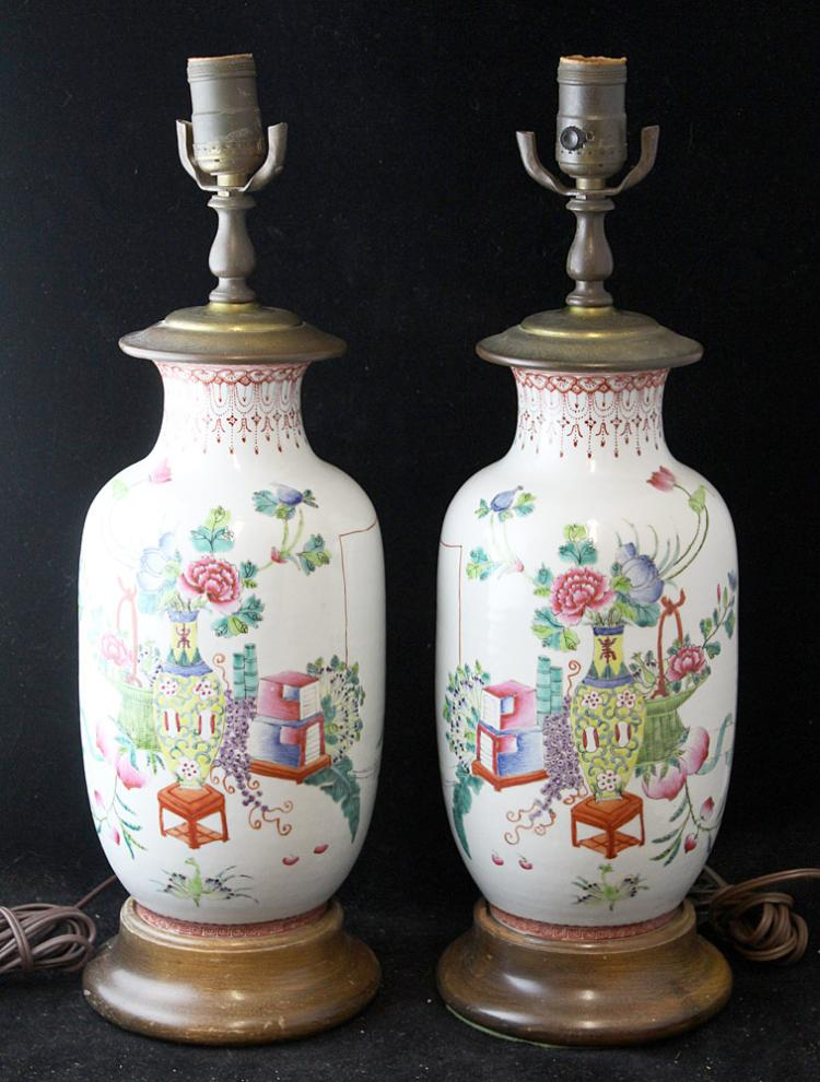 Pair of Chinese Famille Rose Table Lamps
