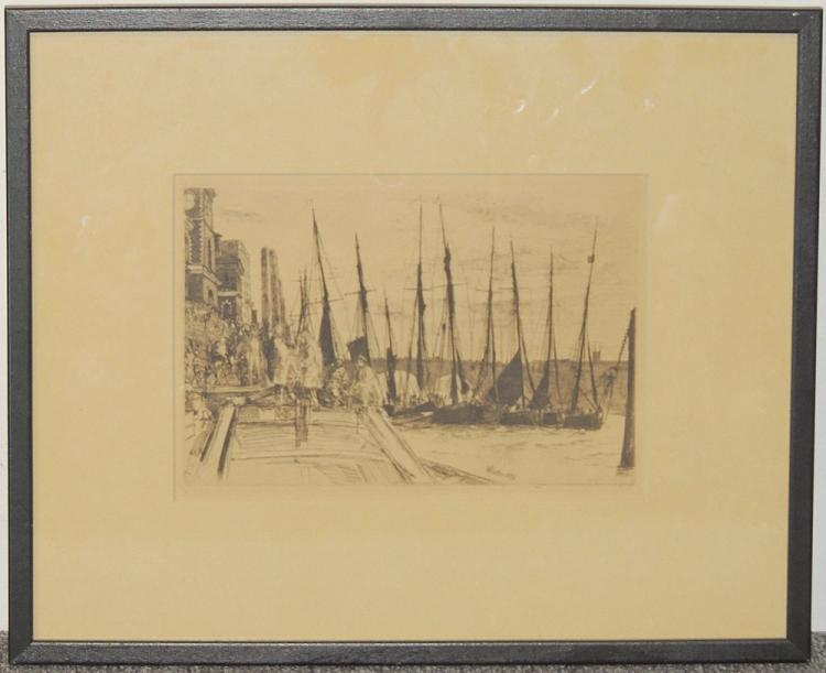 James A. McNeill Whistler Etching, Harbor Scene