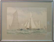Frederic Schiller Cozzens Watercolor, Marine Scene