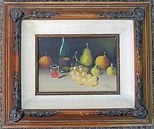 Peter Ruta Oil on Panel, Fruit Still Life