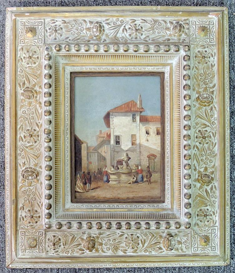 Continental School Oil on Panel, Courtyard Scene