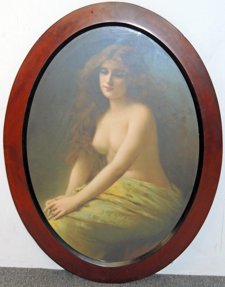 Antique Portrait Print of Nude