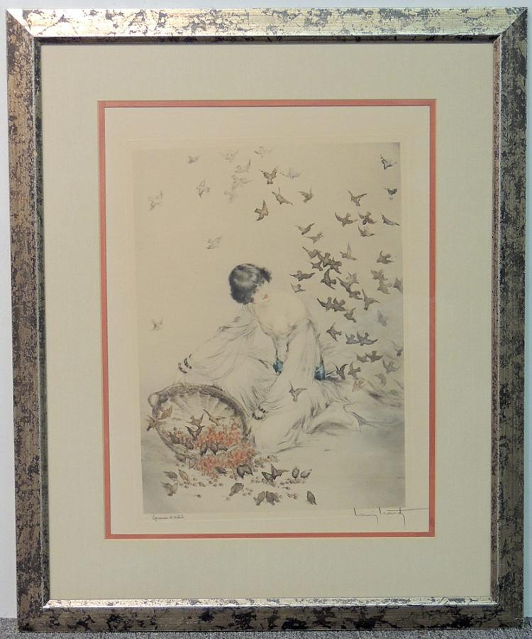 Signed Louis Icart Lithograph, Woman with Birds