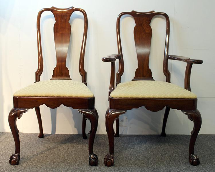 Ten Kindel Chippendale-style Dining Chairs