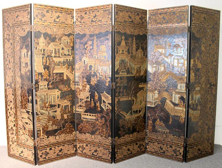 Monumental 20th C. Six-panel Chinese Screen