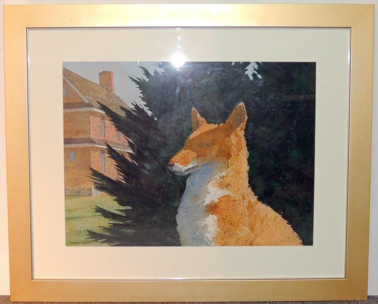Robert Stack Gouache, Fox and Barn