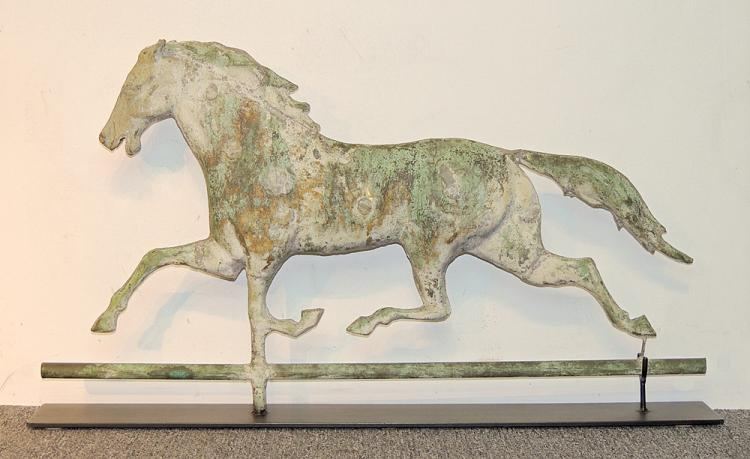 19th C. Copper Running Horse Weathervane