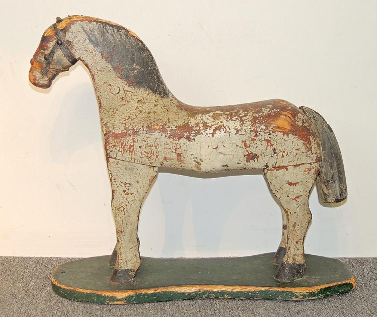 19th C. Folk Art Carved and Painted Horse