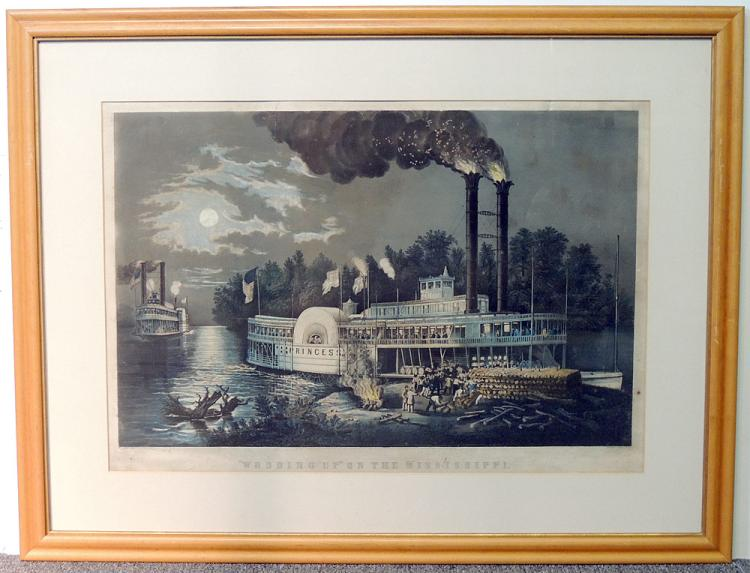 Currier & Ives Lithograph, Wooding Up…
