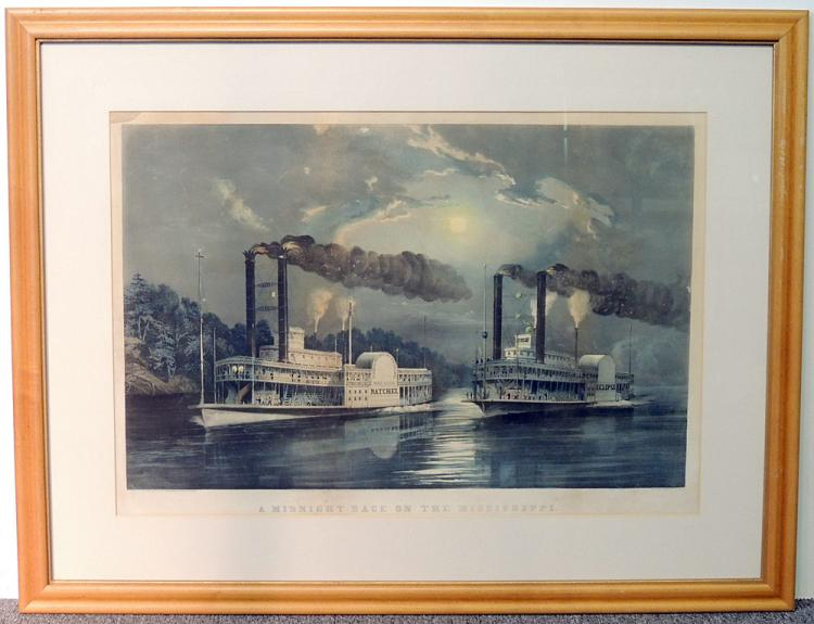 Currier & Ives Lithograph, A Midnight Race…
