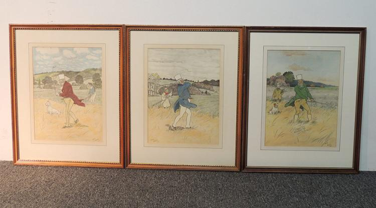 Three Harry Eliott Golf Prints