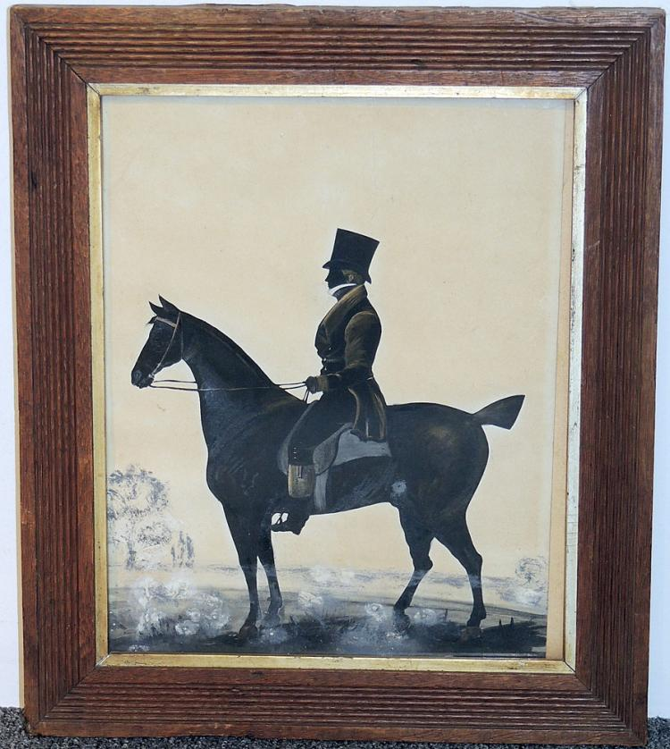 19th Century Silhouette of Horse with Rider