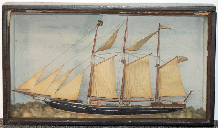 Antique Painted Ship Diorama