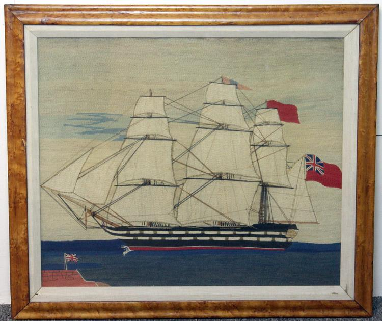 19th C. English Woolwork of British Frigate