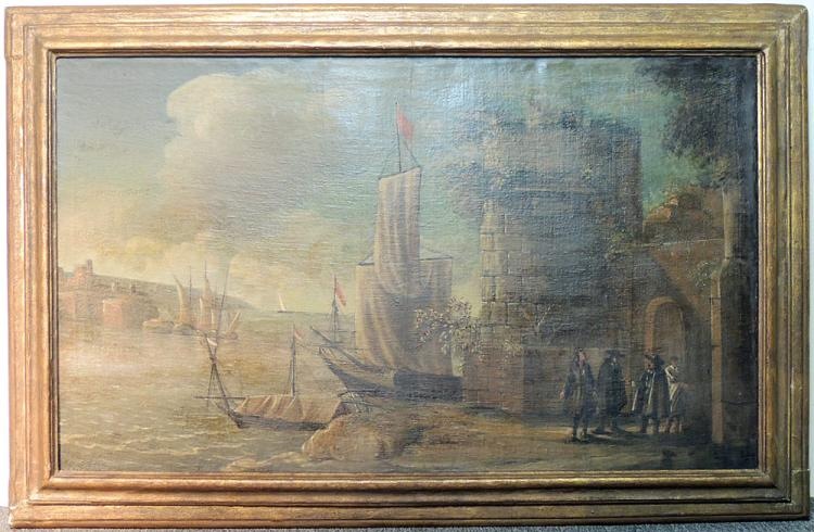 Continental School Oil on Canvas, Harbor Scene