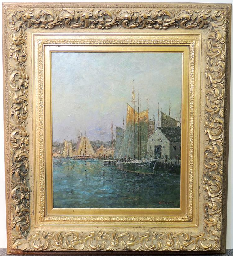 Oil on Canvas Impressionist Harbor Scene