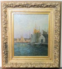 Oil on Canvas Impressionist Harbor Scene