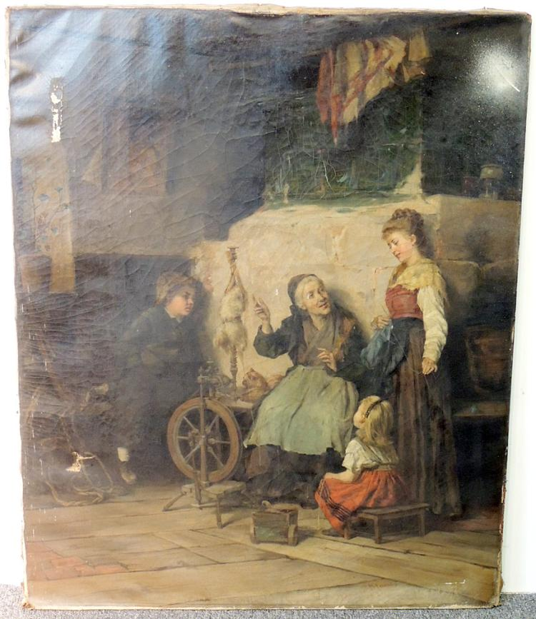 Edmund Blume Oil on Canvas, Genre Scene