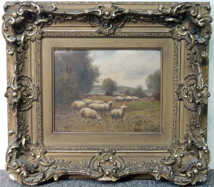 Oil on Canvas, Landscape with Sheep in Field