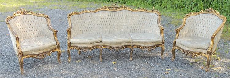 French Louis XV-style Three-piece Parlor Suite