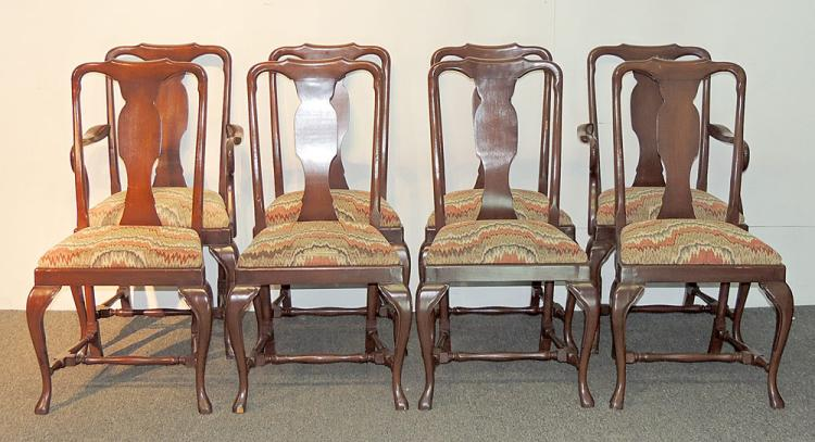 Eight Queen Anne Mahogany Dining Chairs