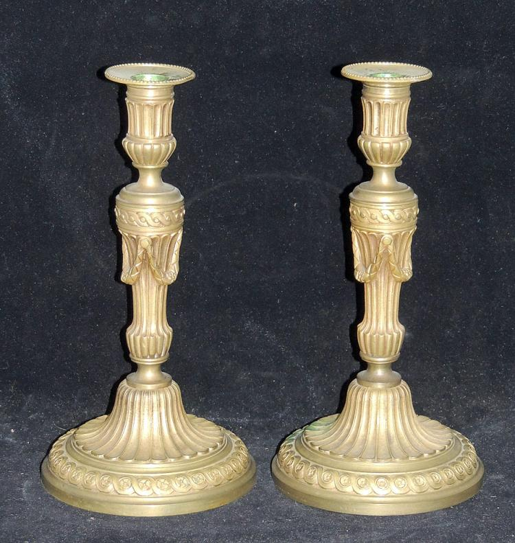 Pair of French Doré Bronze Candlesticks