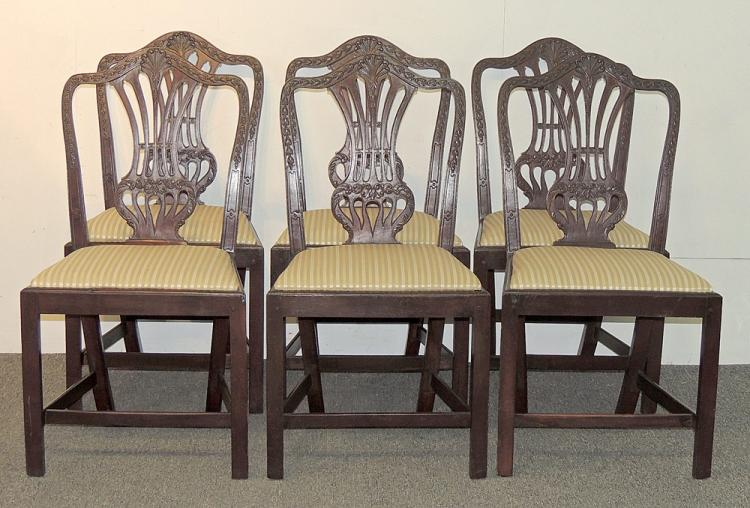 Set of Six Federal Mahogany Dining Chairs