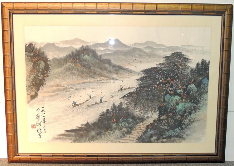 Large Chinese Watercolor, Fishermen