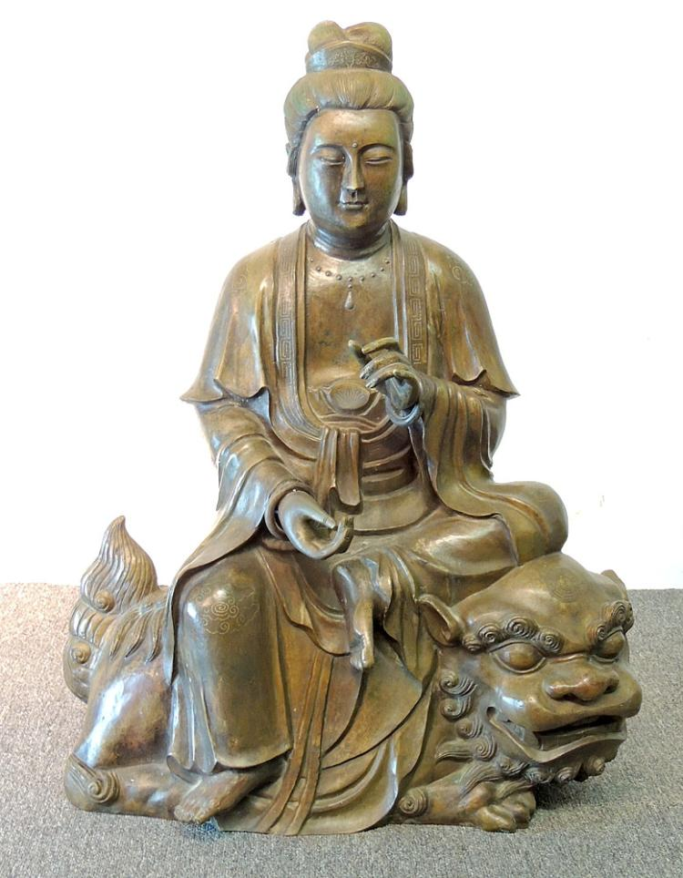 Large Chinese Bronze Guanyin Statue