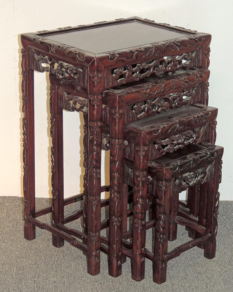 Four Nested Chinese Carved Hardwood Tables