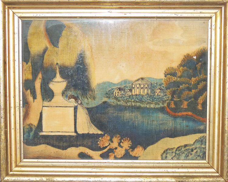 19th Century Mourning Painting on Velvet