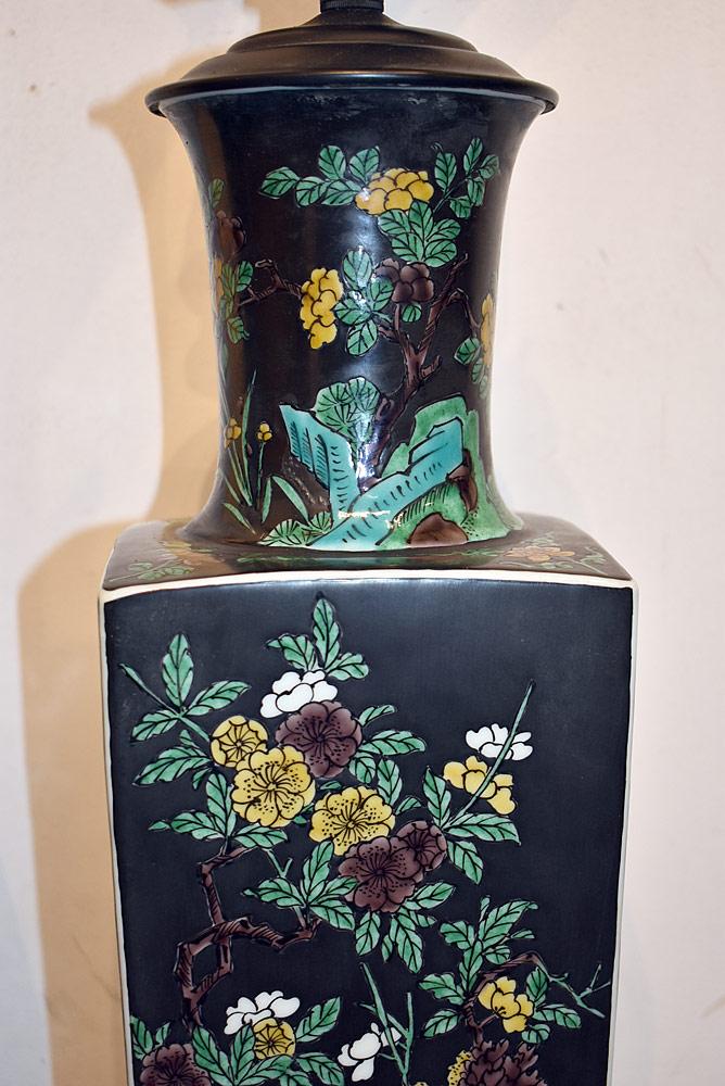 pr chinese famille noir vase form table lamps. Black Bedroom Furniture Sets. Home Design Ideas