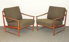 Pair of Danish Modern Teak Lounge Chairs