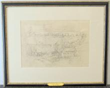 Frank E. Schoonover Graphite on Paper, Village
