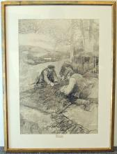 Frank E. Schoonover Charcoal, Mending the Net
