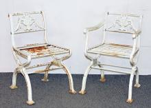 Two Victorian Cast Iron Garden Chairs