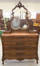 Louis XV-style Carved Bureau and Mirror
