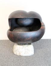 Modernist Carved Wood Sculpture