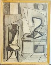 Charcoal Cubist Drawing