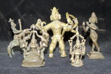 Five Indian Bronze Statuettes