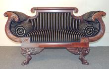 Empire Classical Carved Mahogany Settee